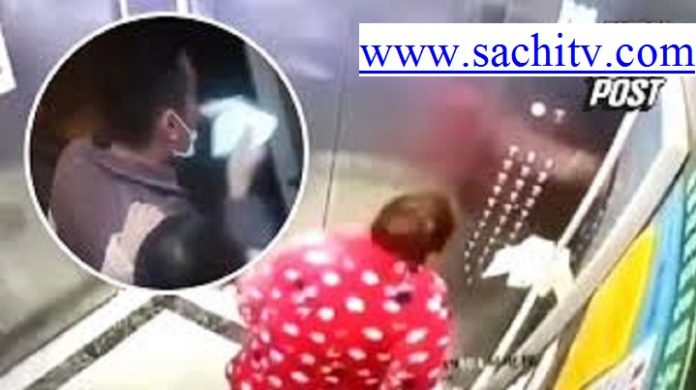 The whim of a woman Spreading virus! Lady in China infecting the elevator and People by spitting in an elevator. Will she get arrested?